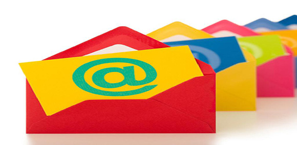 email messages in colorful envelopes