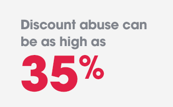 Discount abuse can be as high as 35%.