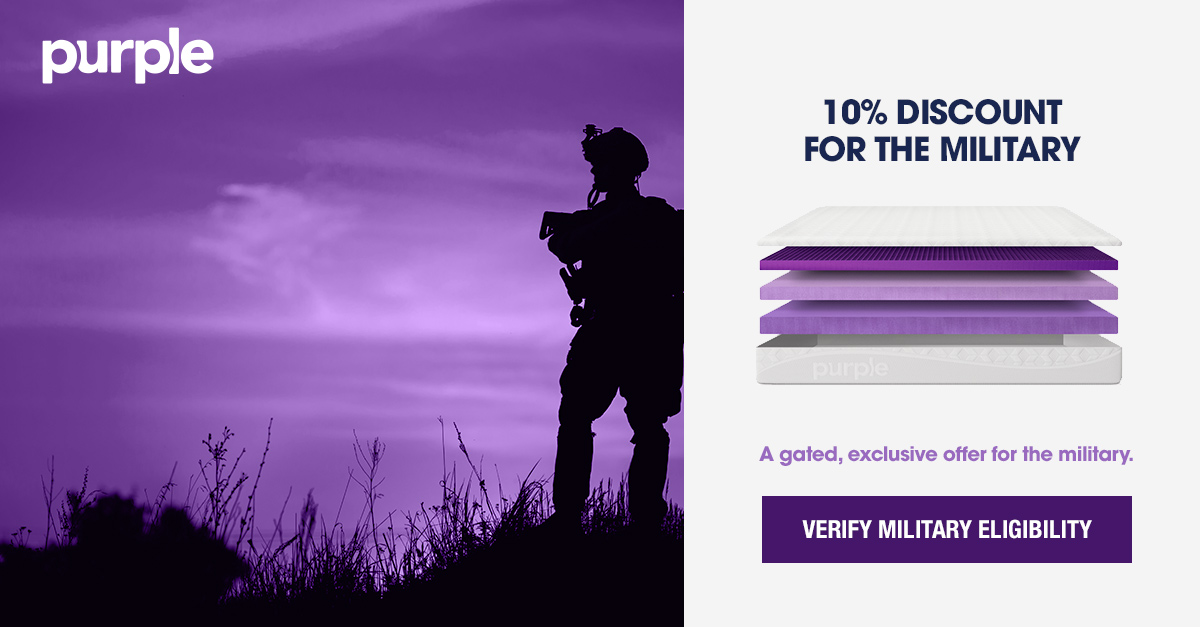 A soldier in the field at twilight is part of a customer acquisition ad promoting Purple's 10% discount for the military.